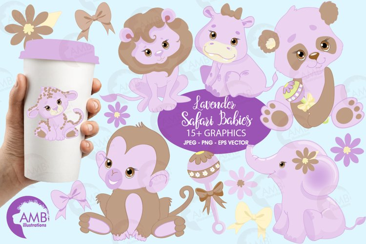 Jungle Babies in lavender clipart, AMB-1212 example image 1