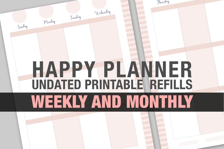 Undated Printable Planner Blush Vertical Weekly & Monthly