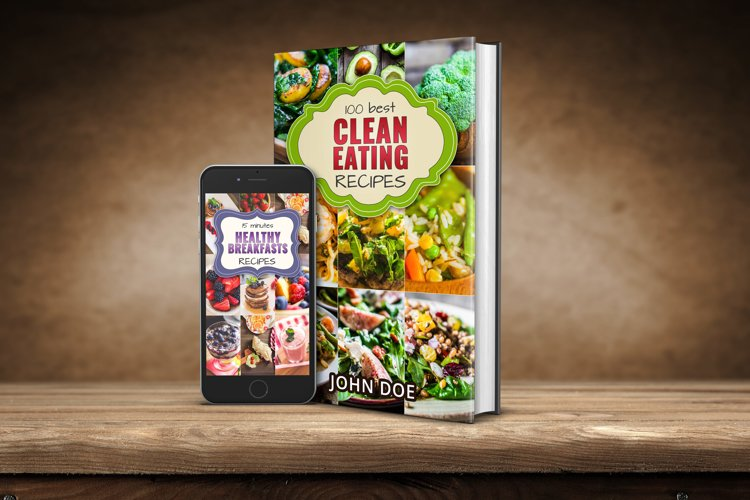 Bright eye-catching e-book cover template for cook books!