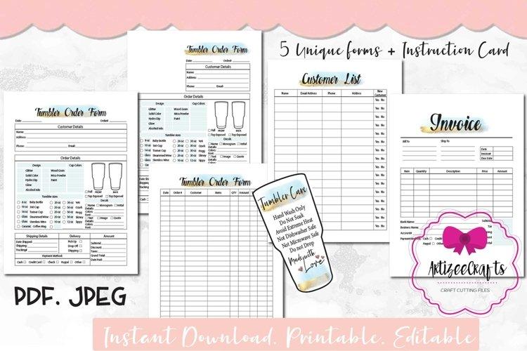Tumbler Order Form Printable, Custom Order Form, Card Card