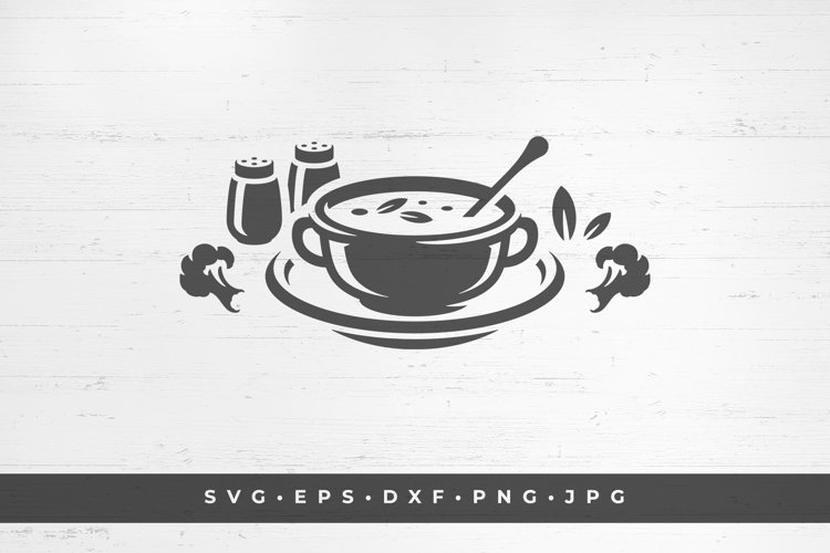 Vegetarian soup in plate silhouette example image 1