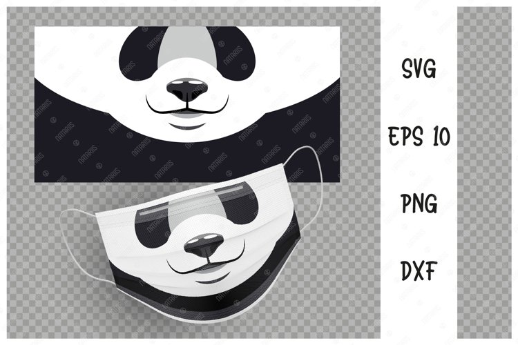 Cute Panda animal mouth for protective face mask. example image 1