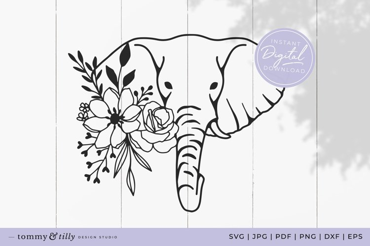 Flower Elephant No.3 SVG Cut File for Cricut and Silhouette