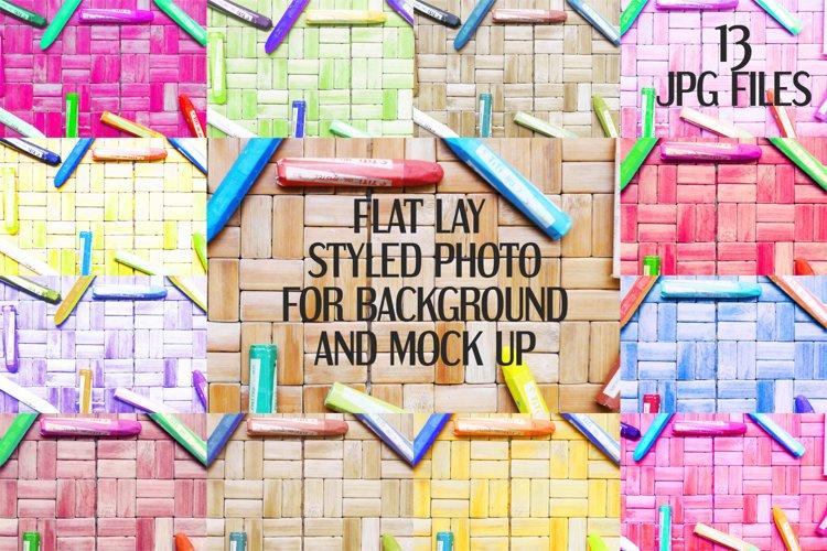 Crayons on rattan background | Flat photo mock up bundle example image 1