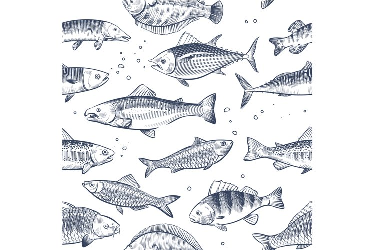 Sketch fishes seamless pattern. Etched ocean fish wrapper ve example image 1