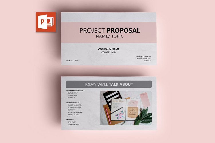 PPT Template | Project Proposal - Pink and Marble example image 1