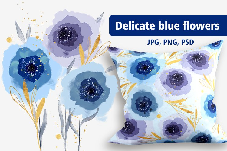 Delicate blue flowers, illustrations example image 1