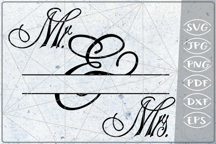Mr. & Mrs. Split Monogram Frame Crafters Wedding SVG File