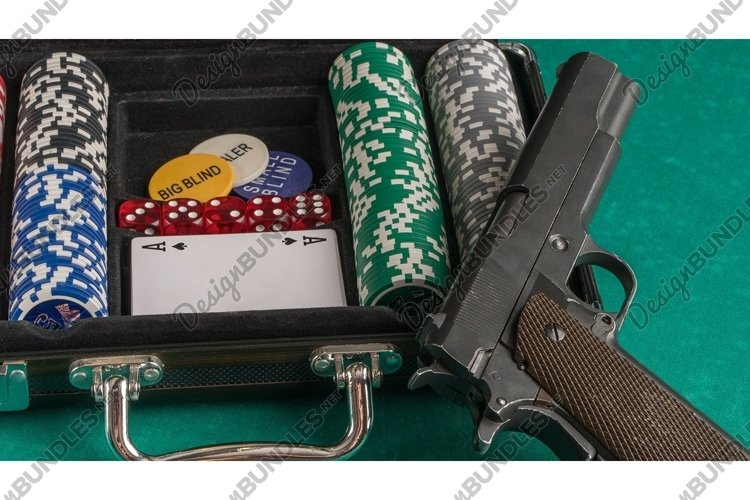 Poker set with a gun. Casino and poker example image 1