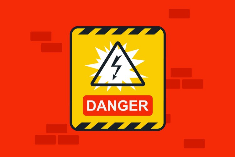 sticker caution electricity on the red wall example image 1