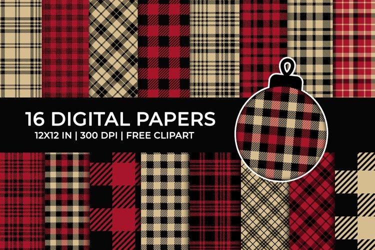 Red Lumberjack Digital Papers Set, Tartan, Buffalo Plaid