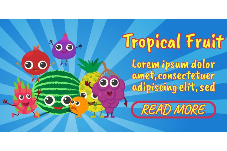 Tropical fruit concept banner, comics isometric style example image 1