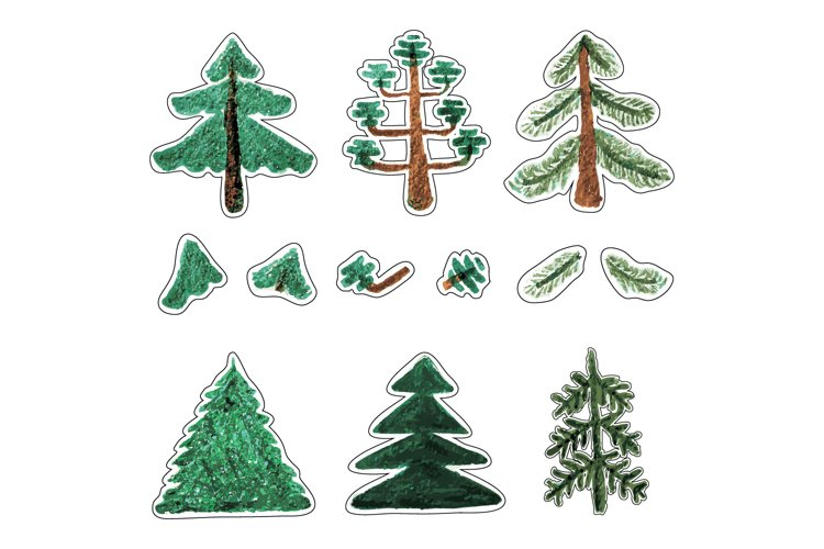 Trees-with-fluffy-paws-and-coniferous-trees-with-hollow-crow example image 1