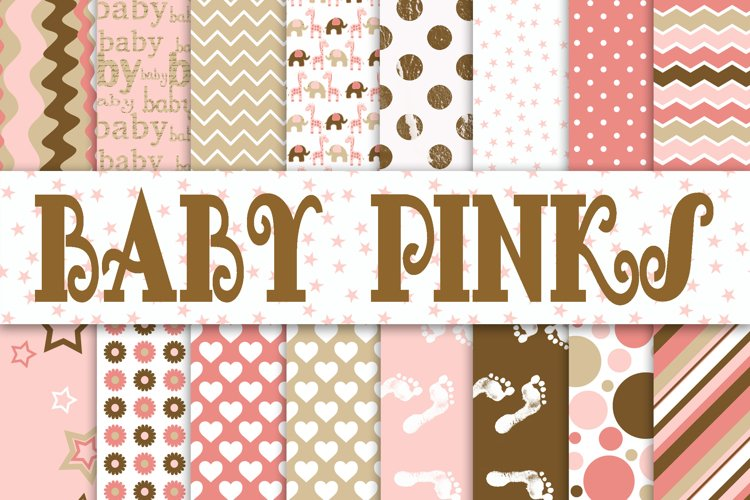 Baby Girl Digital Paper in Pinks and Browns example image 1