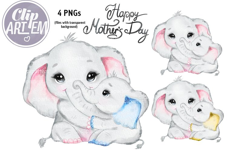 Best Mom and Baby Elephant Boy / Girl Clip Art, PNG images