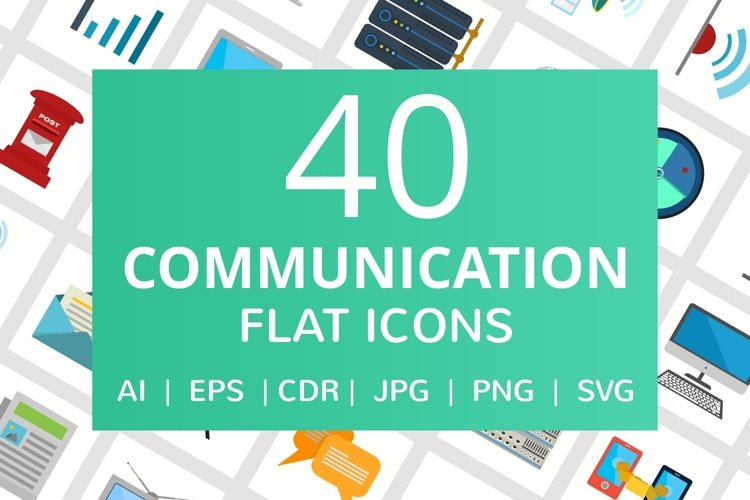 40 Communication Flat Multicolor Icons example image 1