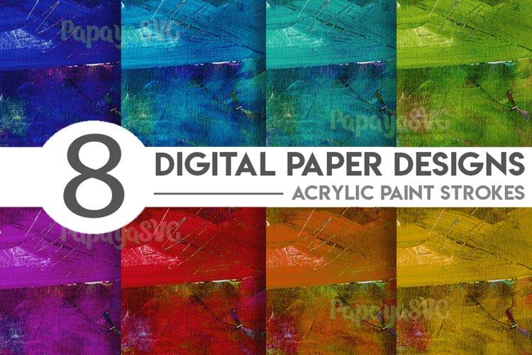 Acrylic Paint Strokes Digital Paper Bundle example image 1