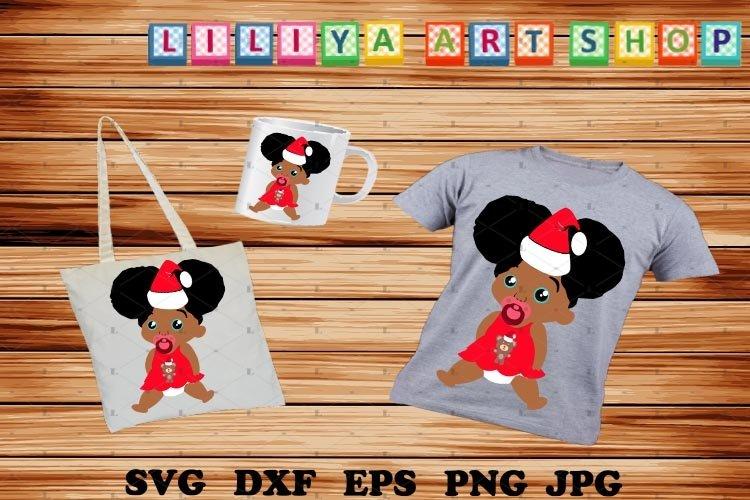 Christmas Afro Baby Girl svg,Santa hat svg,Afro peeking girl example image 1