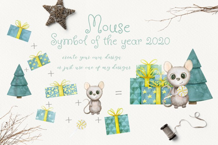 Mouse. New Year 2020. Watercolor set example 3