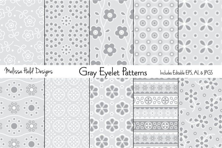 Gray Eyelet Embroidery Patterns