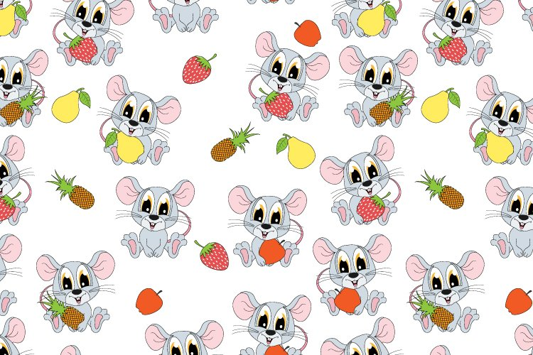 pattern design with cute mouse hold fruit ornament example image 1