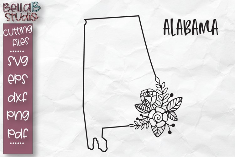 Alabama State SVG, Alabama Floral State Map SVG, Alabama SVG