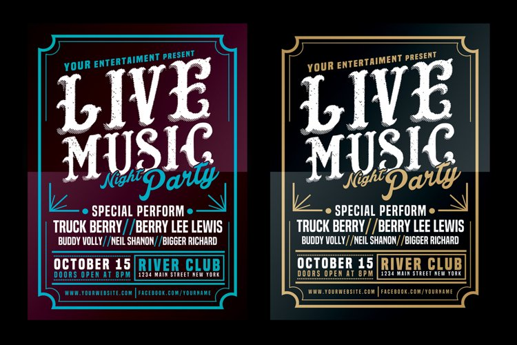 Live Music Typography Poster Flyer example image 1