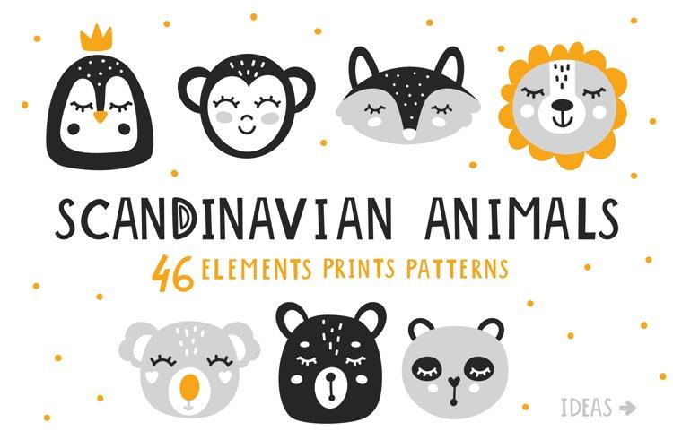 Baby Scandinavian animals Clipart Bundle for nursery q example image 1
