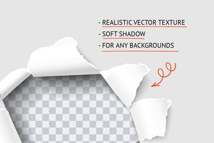 Torn paper hole realistic vector