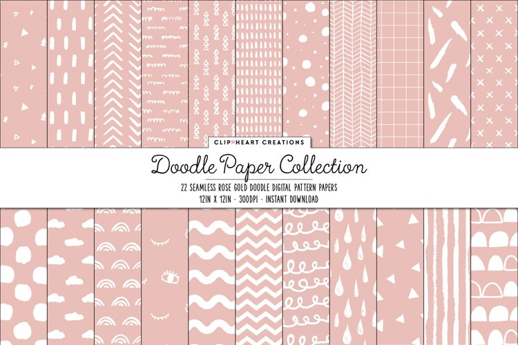 Rose gold Doodle Seamless Digital Papers