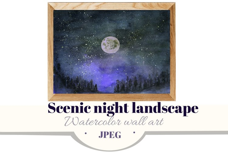 Scenic night landscape. Forest & starry sky. watercolor example image 1