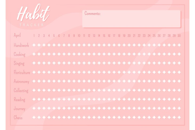 Habit tracker creative planner page design example