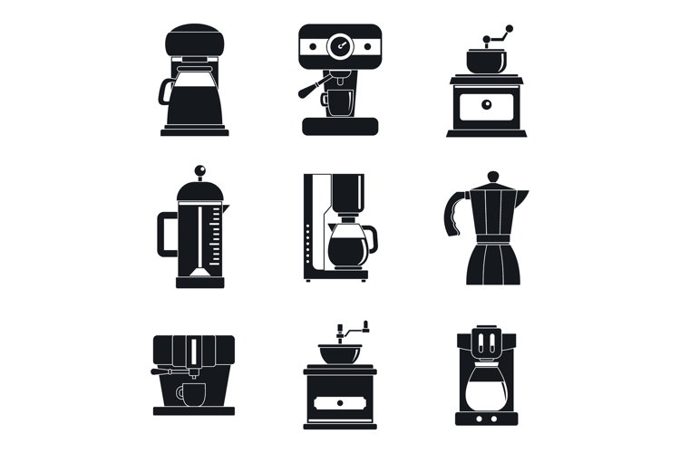 Coffee maker pot espresso icons set, simple style example image 1