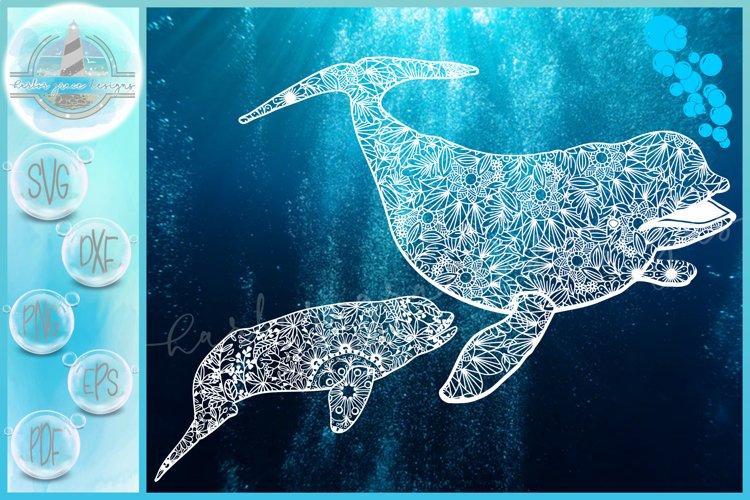 Beluga White Whale Mom Baby Mandala Zentangle SVG example image 1
