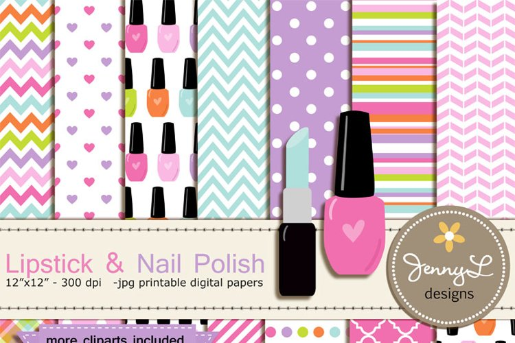 Lipstick and Nail Polish Digital Paper and Clipart example image 1