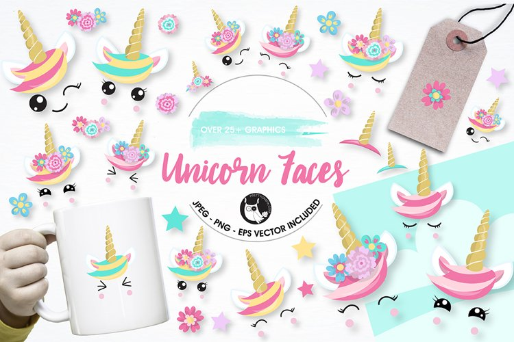Unicorn faces graphics and illustrations example image 1