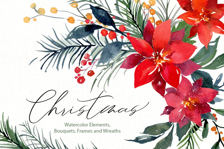 Watercolor Christmas Xmas Floral Florals Poinsettia Fir Pine example image 1