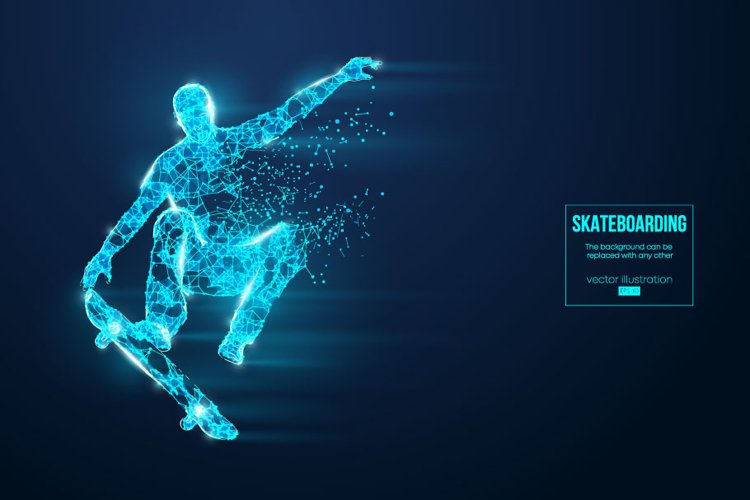 Silhouettes of a skateboarder, AI, EPS, PNG example image 1
