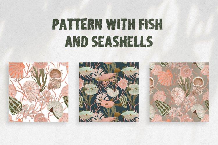Seamless pattern with fish and seashells