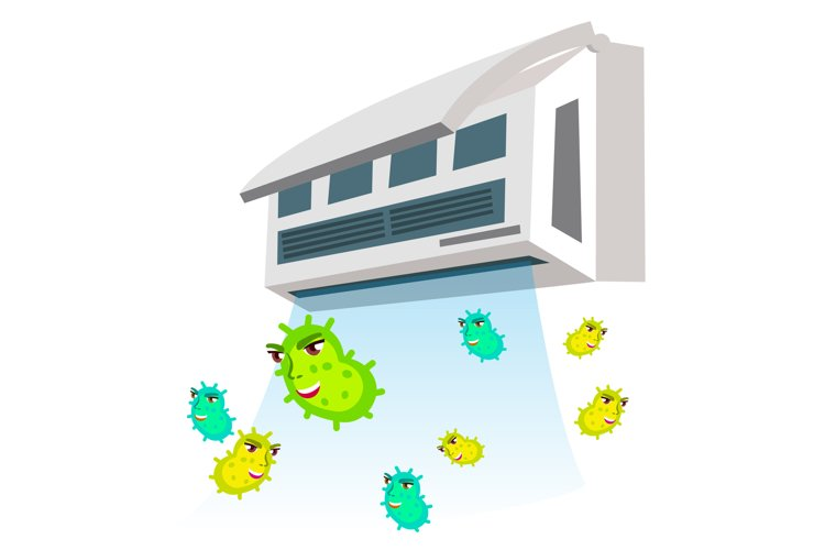Allergic To Bacteria Flying From Air Conditioner Vector. example image 1