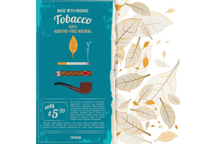 Background illustrations with tobacco leafs, cigarettes and