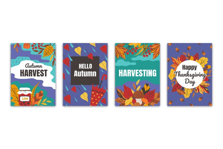 Autumn posters. Flyers and greeting cards with fall foliage example image 1