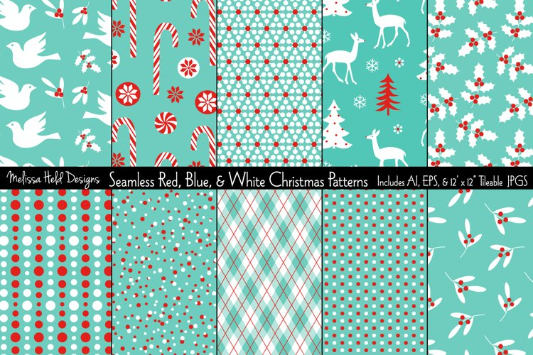 Seamless Red Blue Christmas Patterns