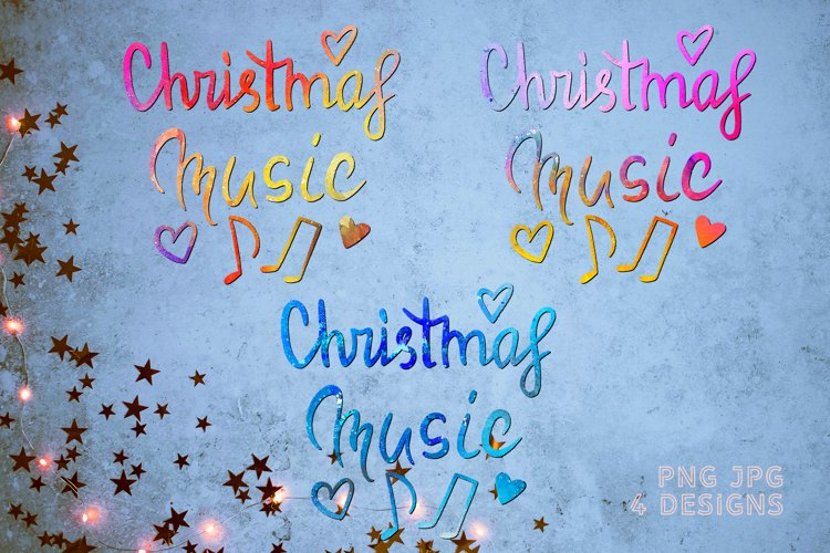 Sublimation PNG Quote Christmas music with musical notes example image 1