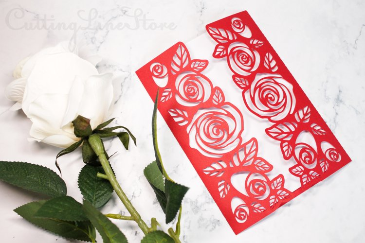 Roses wedding invitation template, Svg files for cricut example image 1