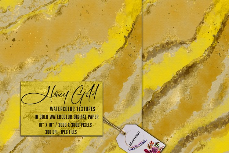 Honey Gold Watercolor, ink & watercolor paper, Gold splats example image 1