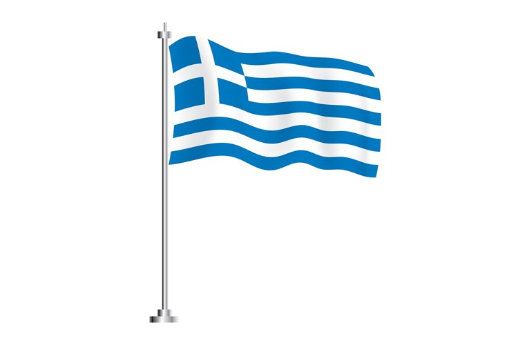 Greek Flag. Isolated Wave Flag of Greece Country. example image 1
