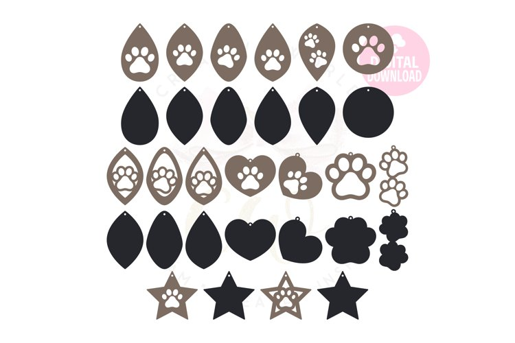 Paw Print Earring Template |60 Templates Earring svg
