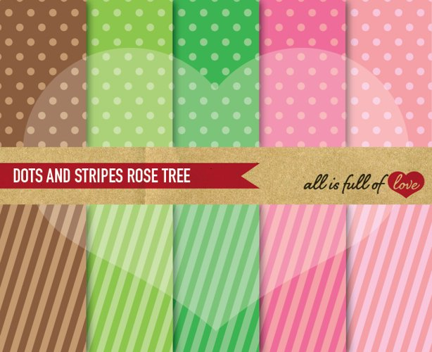 Rose Tree Background Patterns Polka Dots and Stripes Digital Paper Pack in Pink, Green and Brown example image 1