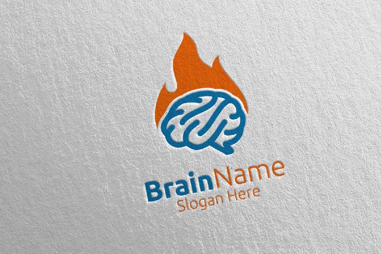 Hot Brain Technology Logo Design 13 example image 1